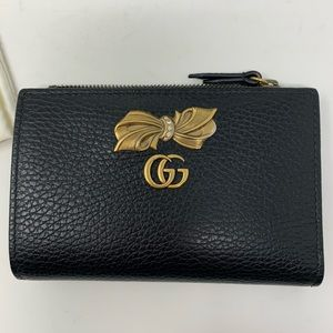 GUCCI BLACK LEATHER BOW WALLET 100% AUTHENTIC